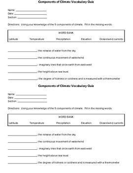 Components of Climate Vocabulary Quiz