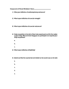 Components of Fitness Worksheet