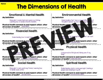 Components of Health Worksheets (Middle School Health, Health Lesson Plans,)
