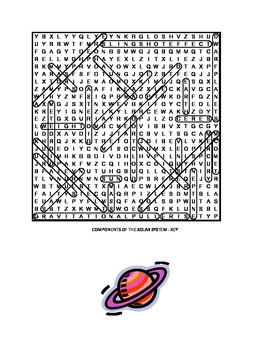 Components of the Solar System Word Search and Review Sheet