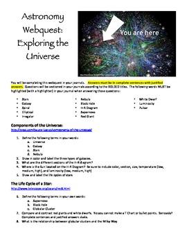 Components of the Universe Webquest