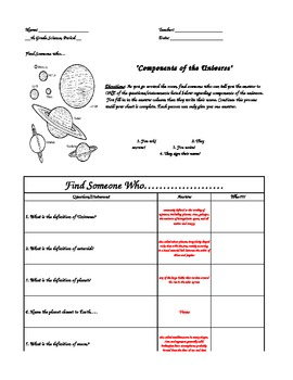 Components of the Universe...Find Someone Who Worksheet--KEY