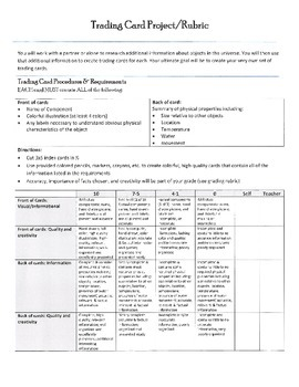 Components/Objects in the Universe Learning Menu/Choice Board w/ RUBRICS-PDF