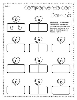 Componiendo con Dominó *VALENTINE'S DAY* Spanish Composing Numbers Game