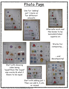 Compose, Decompose, Add & Subtract!  Hands-On Interactive Work Mats!