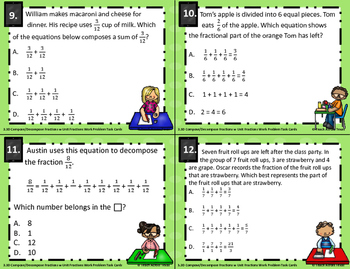 3.3D Compose/Decompose Fractions using Units Word Problem Task Cards STAAR