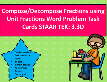 Compose/Decompose Fractions using Units Word Problem Task