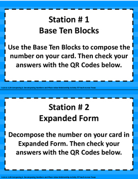 3.2A 3.2B Compose/Decompose Numbers/Place Value Relationship Activity STAAR