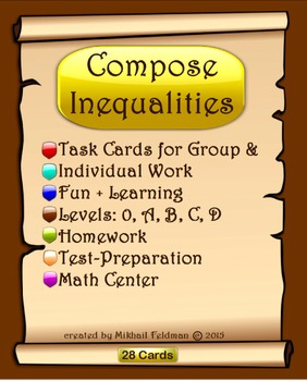 Inequalities: Compose & Solve, 28 Task Cards, Test Quiz Worksheets, Review