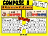 Compose Number 5 Using Fall October Mats and Counters