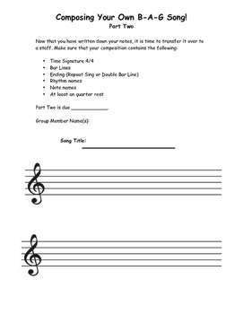 Compose Recorder B-A-G Song (2-parts)