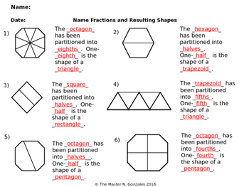 Compose and Decompose 2-D Shapes using Equal Parts with fraction names