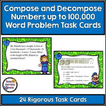 Compose and Decompose Numbers to 100,000 Word Problems Tas