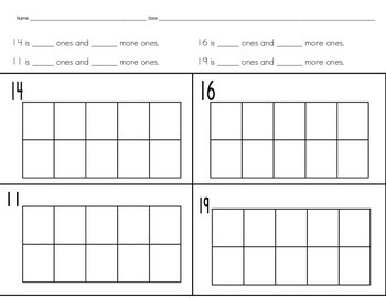 Compose and decompose numbers from 11 to 19