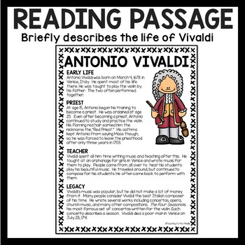 Composer Antonio Vivaldi Biography Reading Comprehension Worksheet