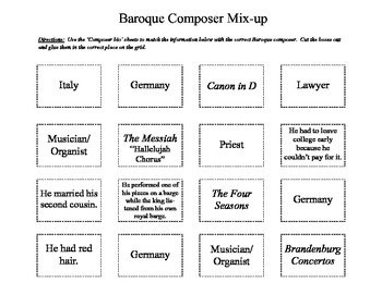 Baroque Composer Activity Pack- Sub Plans- Music Worksheet