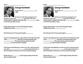 Composer Bio Worksheets