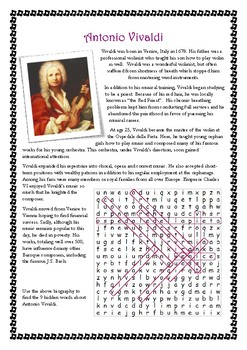 Composer Biographies and Wordsearches