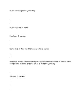 Composer Biography Assignment Package