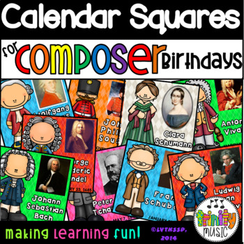 Composer Birthday Squares for Your Calendars
