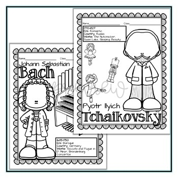 Composer Coloring Sheets: Set 1