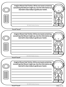 Famous Composers (Exit tickets with a social media theme)