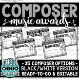 Composer Music Awards -BW/Ink-Saver Version- *EDITABLE*