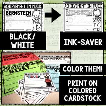 Composer Music Awards -Color and BW/Ink-Saver BUNDLE- *EDITABLE*