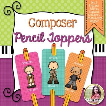 Composer Pencil Toppers Set 2: Brahms, Britten, Copland, & More!