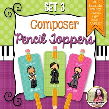 Composer Pencil Toppers Set 3: Bernstein, Debussy, Haydn, & More!