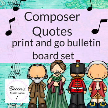 Composer Quotes Bulletin Board Set World Map/Travel Theme