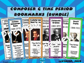 Composer & Time Period Bookmarks (BUNDLE)