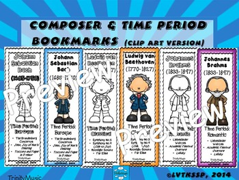 Composer & Time Period Bookmarks (clip art version)