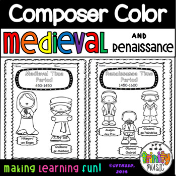 Composer & Time Period Coloring Pages (Medieval and Renaissance)