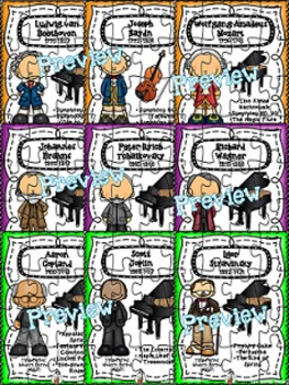 Composer & Time Period (clip art version) Puzzles