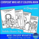 Music Coloring Sheets Composer Who Am I? Coloring Book (Reproducible)