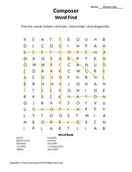 Music Composer Word Find {Bell Ringer}