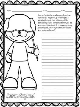 Composer of the Month Copland-Bulletin Board and Writing Activities