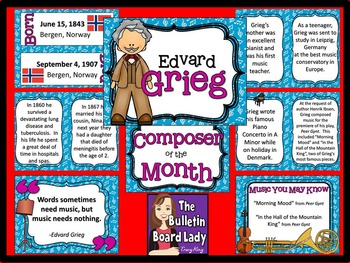 Composer of the Month Edvard Grieg-Bulletin Board and Writ