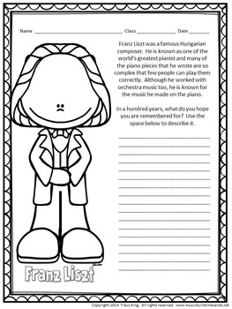 Composer of the Month Franz Liszt-Bulletin Board and Writing Activities