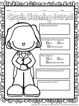 Composer of the Month Frederic Chopin-Bulletin Board and Writing Activities