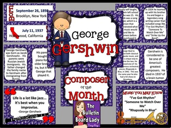 Composer of the Month George Gershwin-Bulletin Board and W