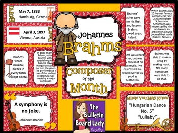 Composer of the Month Johannes Brahms-Bulletin Board and Writing Projects