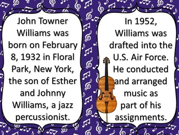 Composer of the Month John Williams -Bulletin Board and Writing Activities