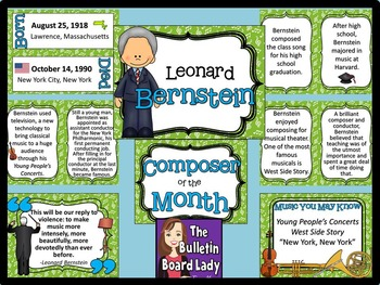 Composer of the Month Leonard Bernstein-Bulletin Board and Writing Projects