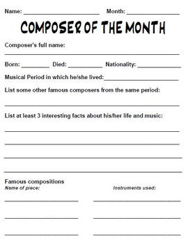 Composer of the Month Worksheet