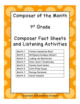 Composer of the Month Yearlong Unit- 1st Grade