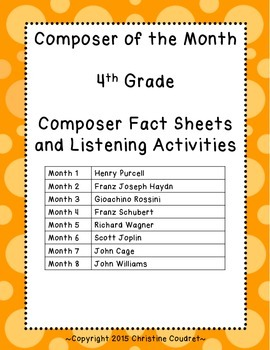 Composer of the Month Yearlong Unit- 4th Grade