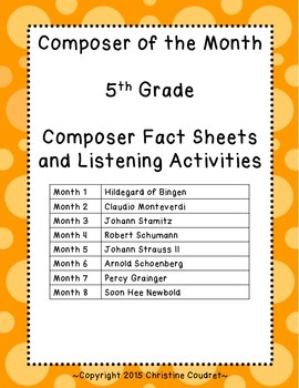 Composer of the Month Yearlong Unit- 5th Grade