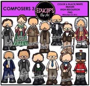 Composers 3 Clip Art Bundle {Educlips Clipart}